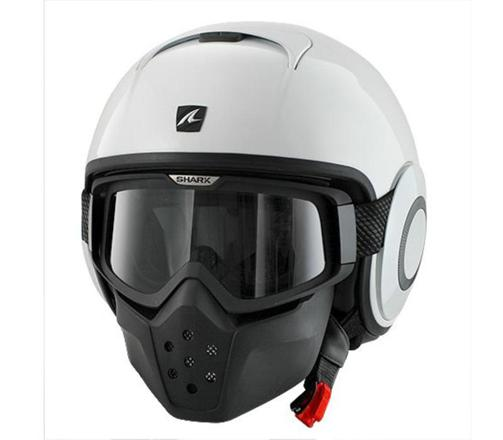 casque shark raw blanc