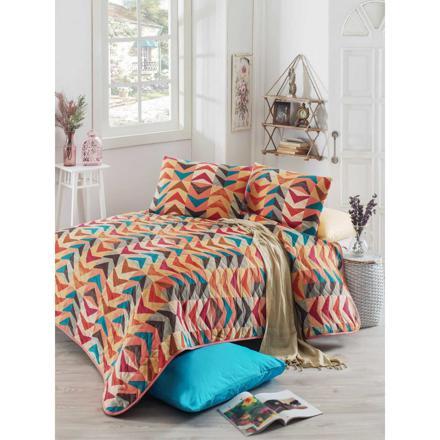 couvre lit multicolore