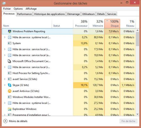 disque dur 100%
