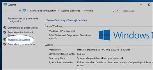 disque système windows 10
