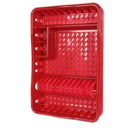egouttoir vaisselle rouge plastique