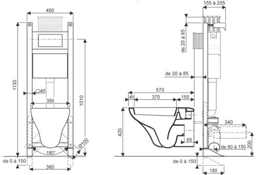 hauteur d un wc suspendu