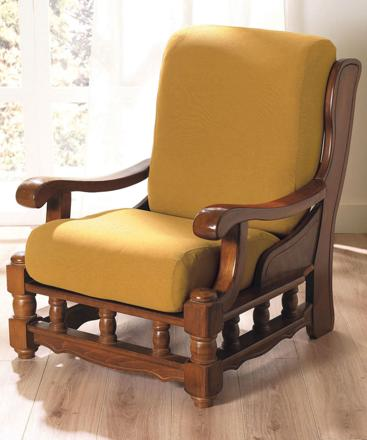 housse de canapé avec accoudoir en bois