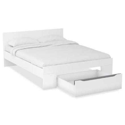 lit 140x190 blanc avec tiroir