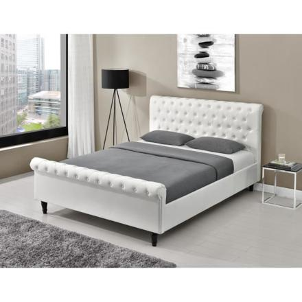 lit capitonné blanc 160x200