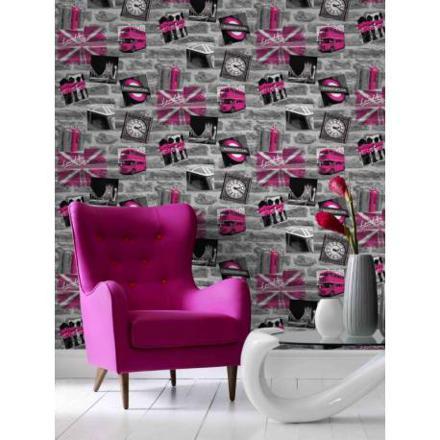 papier peint london rose