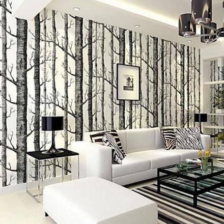 papier peint motif arbres