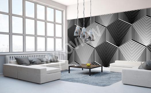 papier peint noir et blanc salon