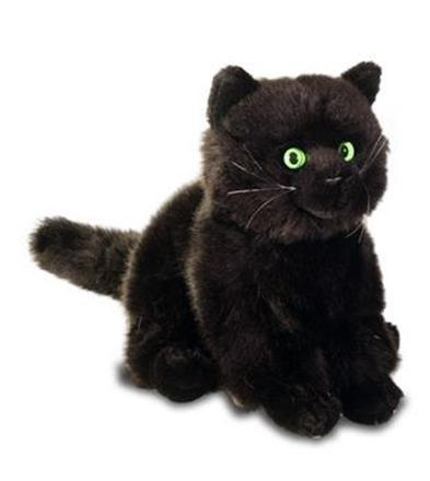 peluche chat noir yeux verts