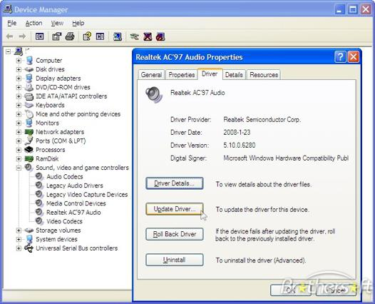 pilote audio windows xp