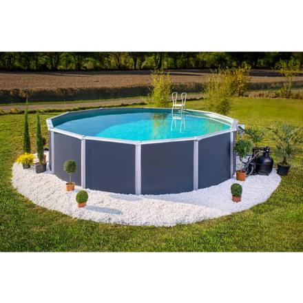 piscine hors sol acier gris