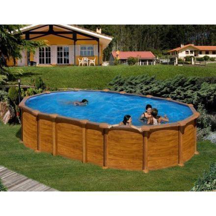 piscine ovale aspect bois