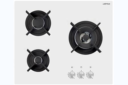 plaque de cuisson gaz 3 feux verre blanc
